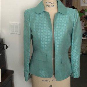 Linda Allard Ellen Tracy blue brocade jacket sz 2